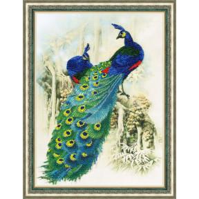 Набор для вышивки Золотое Руно РТ-016 Изумрудные павлины фото