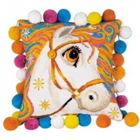 """Набор для вышивки Риолис 1380 Подушка """"Златогривая лошадка"""" фото"""