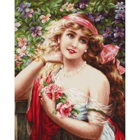 Набор для вышивки гобелена Luca-S G549 Девушка с розами фото