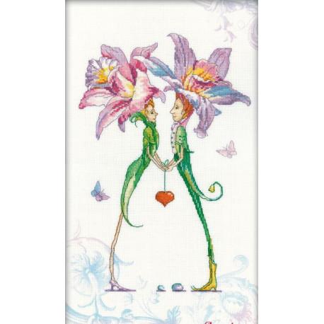 Набор для вышивки крестом RTO M70005 Пара любящих сердец фото
