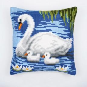 Набор для вышивки подушки Vervaco 1200/797 Лебедь и малыши фото