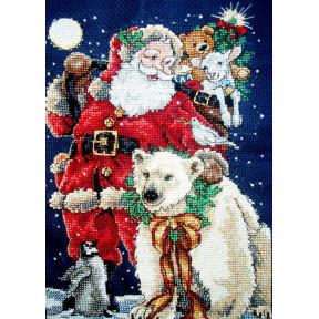 Набор для вышивания крестом Classic Design Санта с друзьями  4375