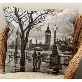 Набор для вышивки крестом Panna ПД-1606 Лондонский дождь(Подушка)