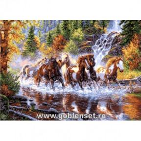 Набор для вышивания гобелен Goblenset G1052 Каскад лошадей фото