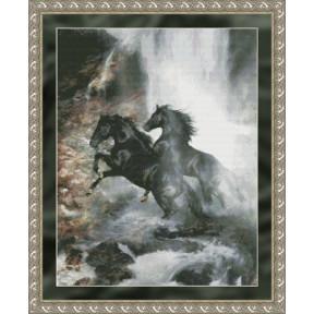Набор для вышивания Kustom Krafts 97157 Waterfall Horses фото