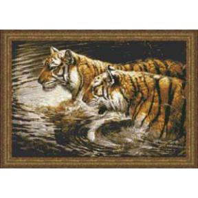 Набор для вышивания Kustom Krafts 98637 Wading Tigers фото