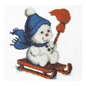 Набор для вышивания бисером ВДВ Б-78 Снеговик на санках фото