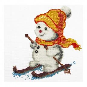 Набор для вышивания бисером ВДВ Б-79 Снеговик на лыжах фото