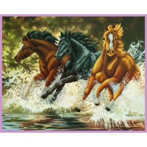 Набор для вышивания Картины Бисером Р-325 Бегущие лошади фото