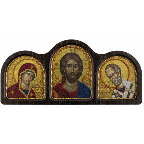 Набор для вышивания бисером Нова Слобода СЕ-6005 Триптих Богородица, Спаситель, Николай Чудотворец