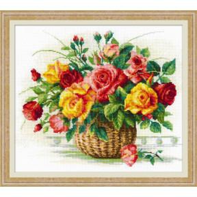 """Набор для вышивки крестом Риолис 1722 """"Корзина с розами"""""""