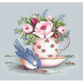 Набор для вышивки крестом Luca-S BA2324 Птичка и чашка чая