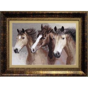 Набор для вышивки крестом Чарівна Мить М-04 Вольные кони