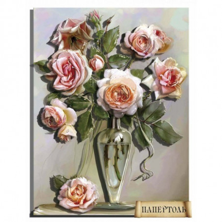 """Картина из бумаги Папертоль PT150152 """"Букет роз в вазе"""" фото"""