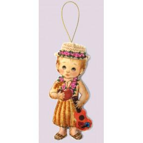 Набор для вышивания бисером Butterfly F 075 Кукла. Гавайи-М