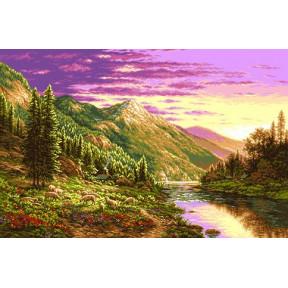 Набор для вышивания гобелен Goblenset G790 Пейзаж на закате фото