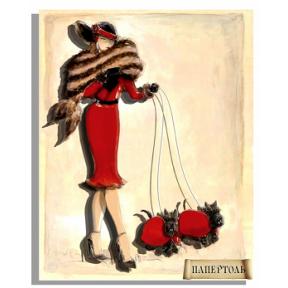 """Картина из бумаги Папертоль РТ150127 """"Дама со скотч-терьерами"""""""