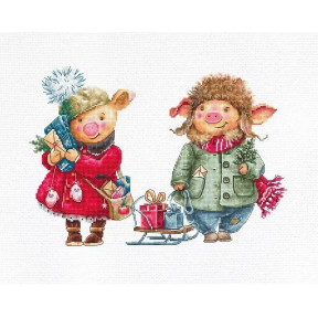 Набор для вышивки Luca-S B1161 Рождественские свинки фото