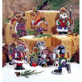 Набор для вышивания крестом Classic Design Новогодние коты 4463