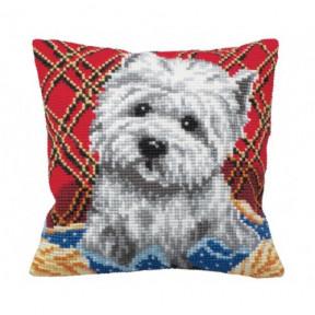 """Подушка для вышивания крестом Collection D'Art 5160 """"Cute Puppy Plaid"""""""