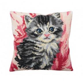 """Подушка для вышивания крестом Collection D'Art 5161 """"Cute Puppy Plaid"""""""