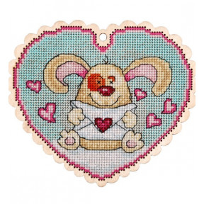 Набор для вышивки крестом Alisena 5540 Валентинка – собачка фото