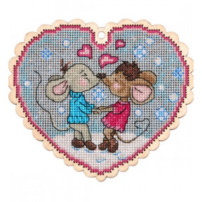 Набор для вышивки крестом Alisena 5541 Валентинка – мышки фото
