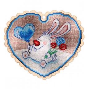 Набор для вышивки крестом Alisena 5543 Валентинка – зайчик фото