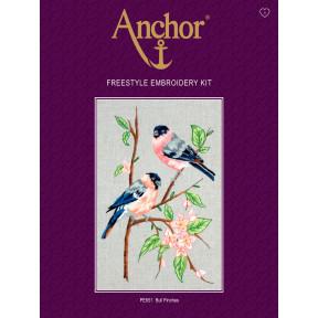 Набор для вышивания гладью  Anchor PE651 Снегири