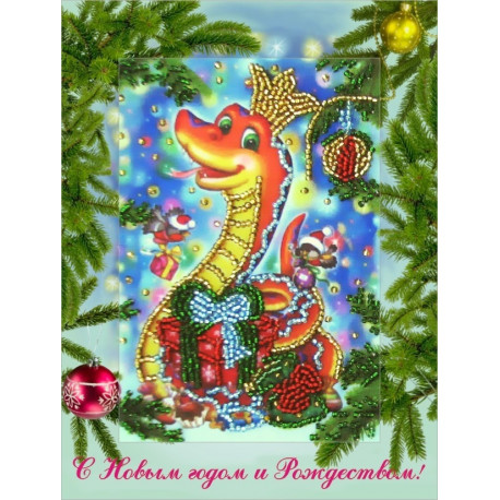 Набор для вышивания открытки бисером Butterfly 709 Змея фото