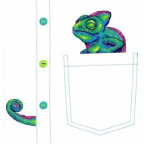 Набор для вышивки крестом МП Студия  В-253 Любопытный хамелеон