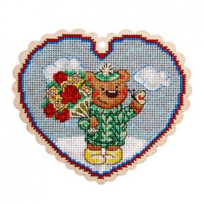 Набор для вышивки крестом Alisena 5546 Медвежонок с букетом фото