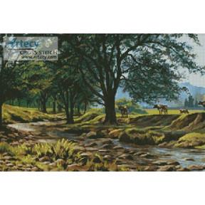 Набор для вышивания  Kustom Krafts 20557 Коровы у ручья