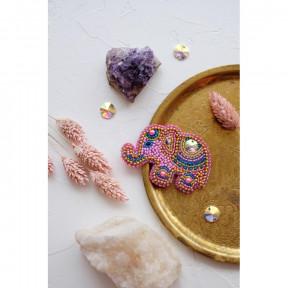 """Набор для вышивки бисером украшения на натуральном художественном холсте Абрис Арт AD-038 """"Розовый слоненок"""""""