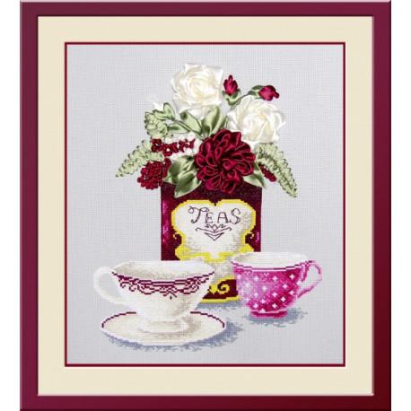 Набор для вышивки крестом и лентами Овен 468 Чайная фантазия