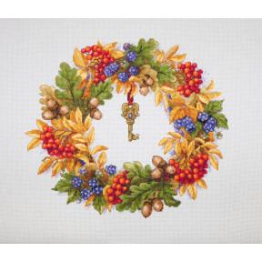 Набор для вышивания крестом Мережка Осенний венок К-99