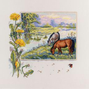 Набор для вышивания крестом Мережка Лошади К-139