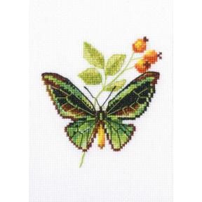 Набор для вышивки крестом RTO Веточка шиповника и бабочка EH363