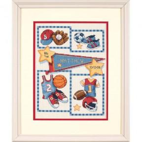 Набор для вышивки крестом Dimensions Little Sports Birth Record 73256