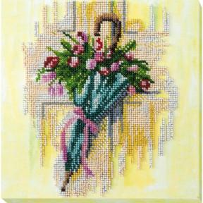 """Набор для вышивки бисером на холсте Абрис Арт """"Зонтик и тюльпаны"""" АМВ-032"""