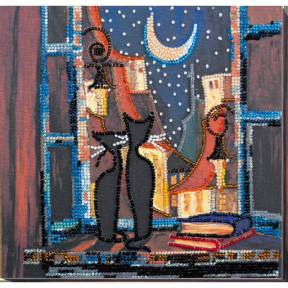 """Набор для вышивки бисером на холсте Абрис Арт """"В окошке кошки"""" АМВ-043"""