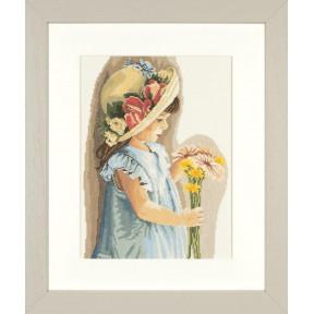 """Набор для вышивания Lanarte Girl with the flowered hat """"Девочка с цветочной шляпой"""" PN-0008175"""