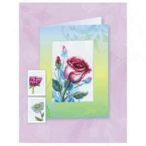"""Набор для вышивания крестиком-открытка RTO """"Розы"""" CH823"""