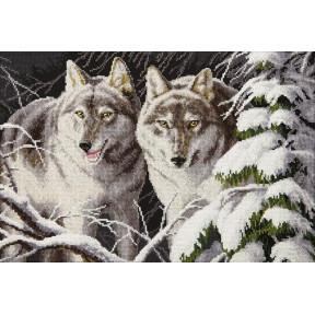 Набор для вышивки  крестом Чарівна Мить Волки в зимнем лунном свете М-367