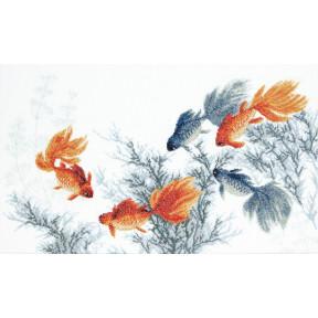 """Набор для вышивки крестом Чарівна Мить """"Золотые рыбки. Исполнение пяти желаний"""" М-354"""