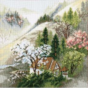 """Набор для вышивки крестом Чарівна Мить """"Уютный домик у горного ручья"""" М-365"""