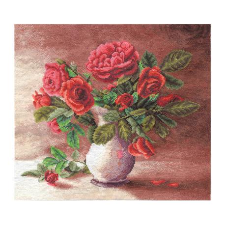 Набор для вышивки крестом Panna Ц-1153 Красные розы в белом