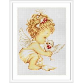 Набор для вышивки крестом Luca-S B369 Ангелочек с голубем