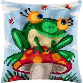 Набор для вышивки подушки Чарівниця Z-01 Лягушка на грибе фото