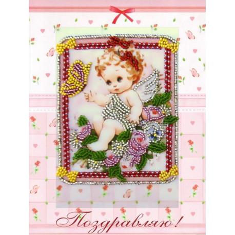 Набор для вышивания открытки бисером Butterfly 737 Ангелочек и